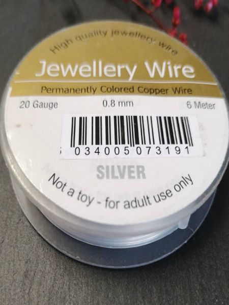 <!002--> .8mm silver permanently coloured copper wire