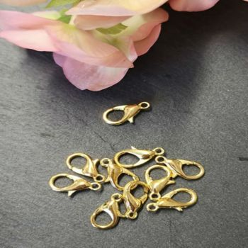 Pack of 12mm gold coloured lobster clasps