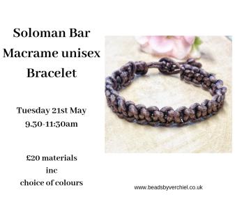 Unisex Soloman Bar Macrame Bracelet