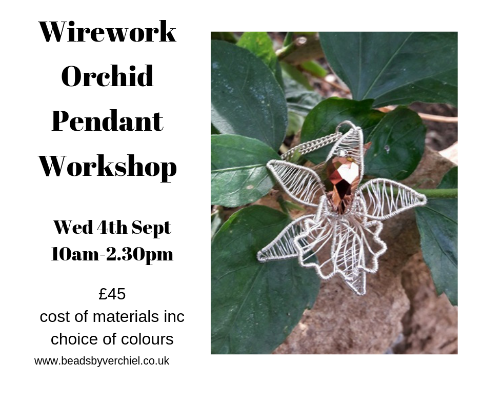 wirework orchid pendant workshop jewellery making course