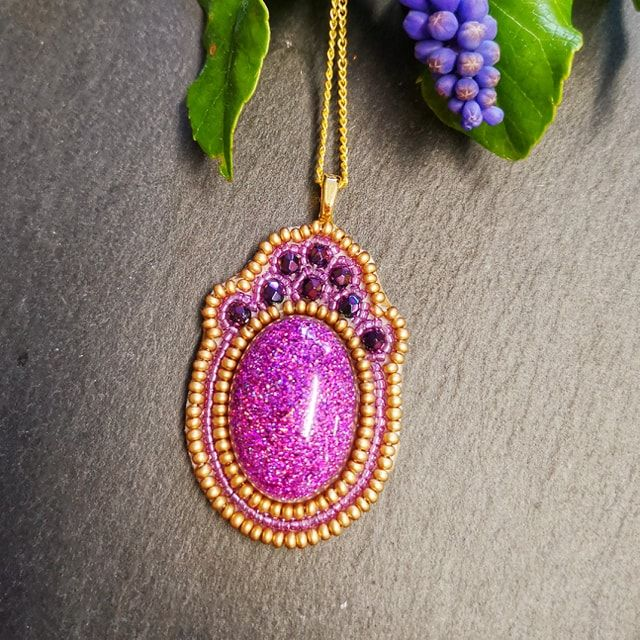hot pink bead embroidery pendant workshop swindon