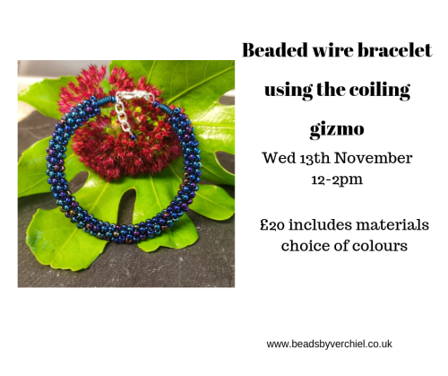 <!007--> Beaded Wirework Bracelet using the coiling gizmo