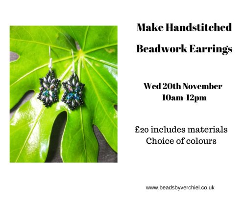 <!008-->Make beadwork Stitched earrings