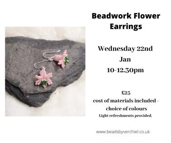 Make beadwork Flower Earrings