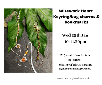 Wire Wrapped Heart Keyrings/bagcharms & bookmarks