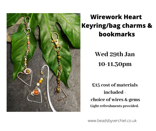 <!008--> Wire Wrapped Heart Keyrings/bagcharms & bookmarks