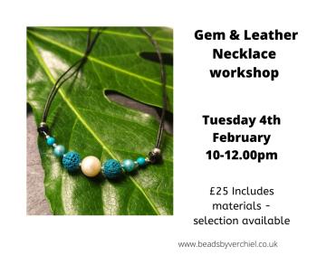 Gemstone & Leather Necklace workshop