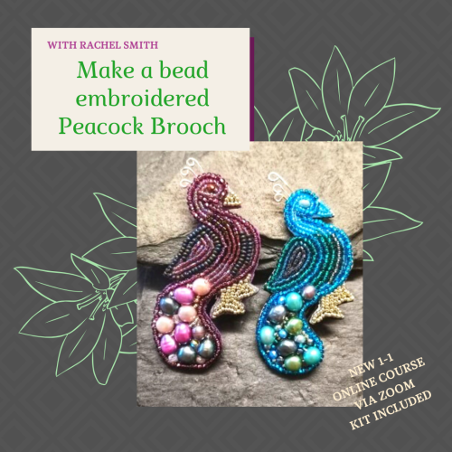 <!001->NEW ONLINE Peacock Brooch workshop