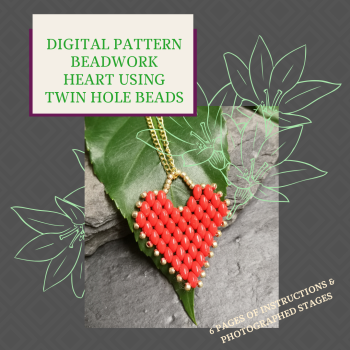 DIGITAL PDF PATTERN - BEADWORK HEART PENDANT