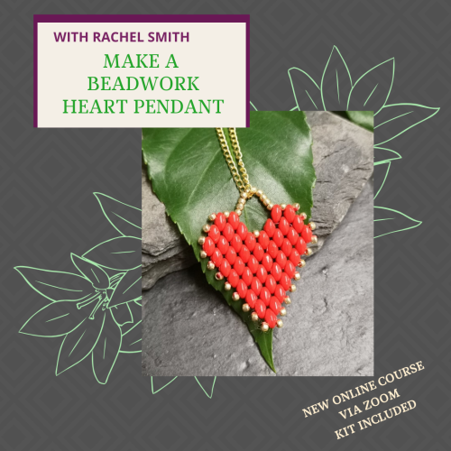 <!002-->NEW ONLINE WORKSHOP - Make Beadwork heart Pendant