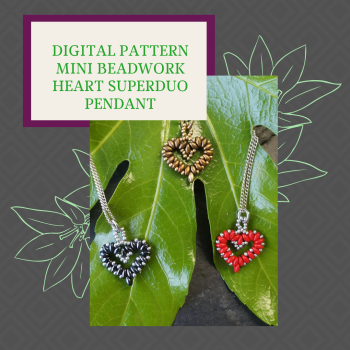 DIGITAL PDF PATTERN - MINI BEADWORK HEART PENDANT