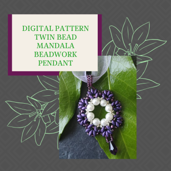 DIGITAL PDF PATTERN - TWIN BEADED BEADWORK MANDALA PENDANT