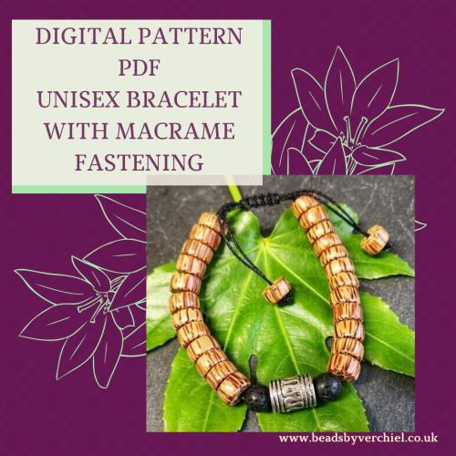 DIGITAL PDF PATTERN - UNISEX BRACELET WITH MACRAME FASTENING
