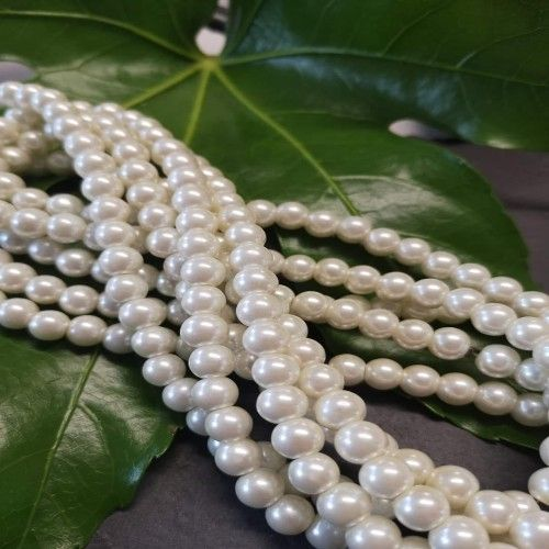 Ivory 8mm Glass Pearls 16 inch strand