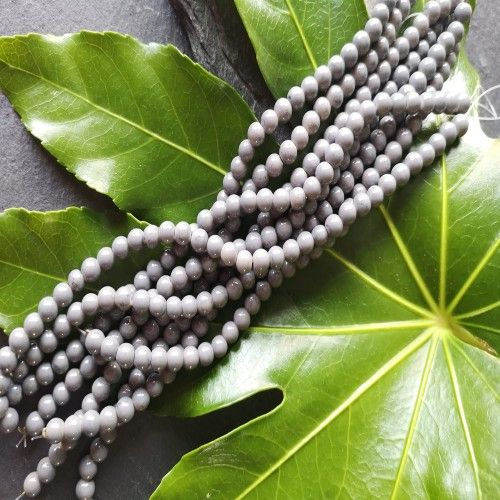 Grey marble effect glass bead strand 6mm