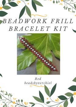 SALE ITEM Red & Gunmetal Beadwork Bracelet Kit