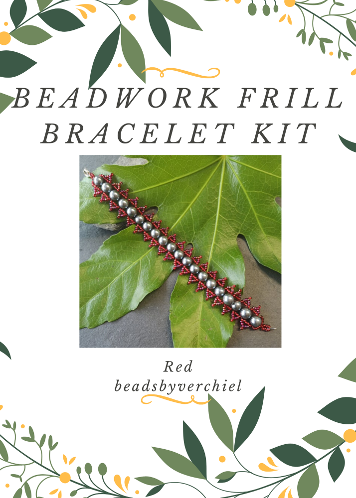 Red & Gunmetal Beadwork Bracelet Kit