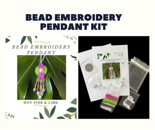Bead Embroidery Pendant Kit - Hot Pink & Lime