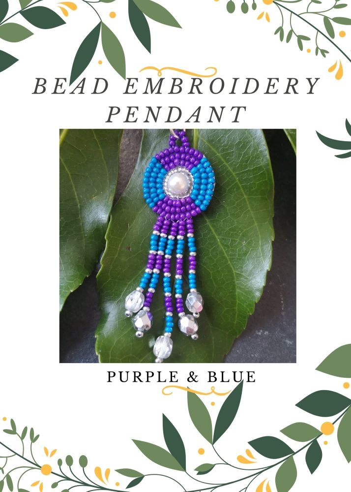 Bead Embroidery Pendant Kit - Purple & Blue