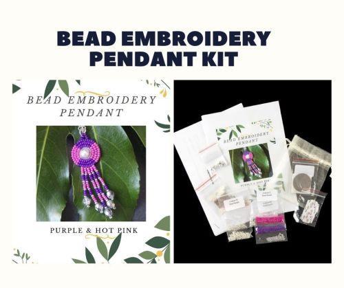 Bead Embroidery Pendant Kit - Purple & Hot Pink