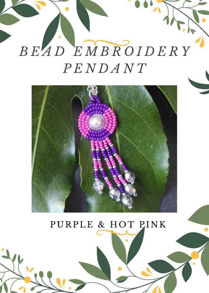 Bead Embroidery Pendant Kit - Purple & Hot Pink