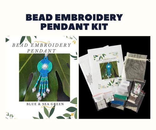 Bead Embroidery Pendant Kit - Blue & Sea Green