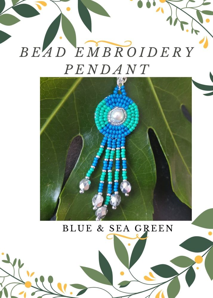 Bead Embroidery Pendant Kit - Blue & Sea Green