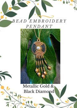 Bead Embroidery Pendant Kit - Metallic Gold & Black Diamond