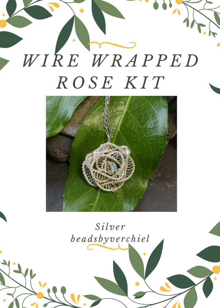 SALE ITEM Wire Wrapped Rose Kit - Silver