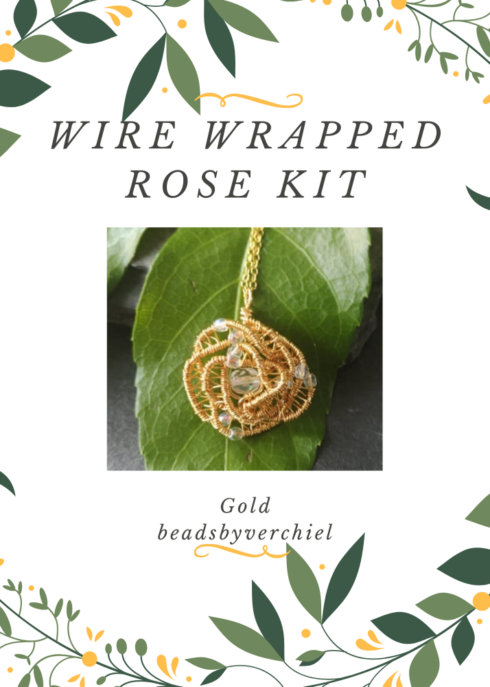 SALE ITEM Wire Wrapped Rose Kit - Gold
