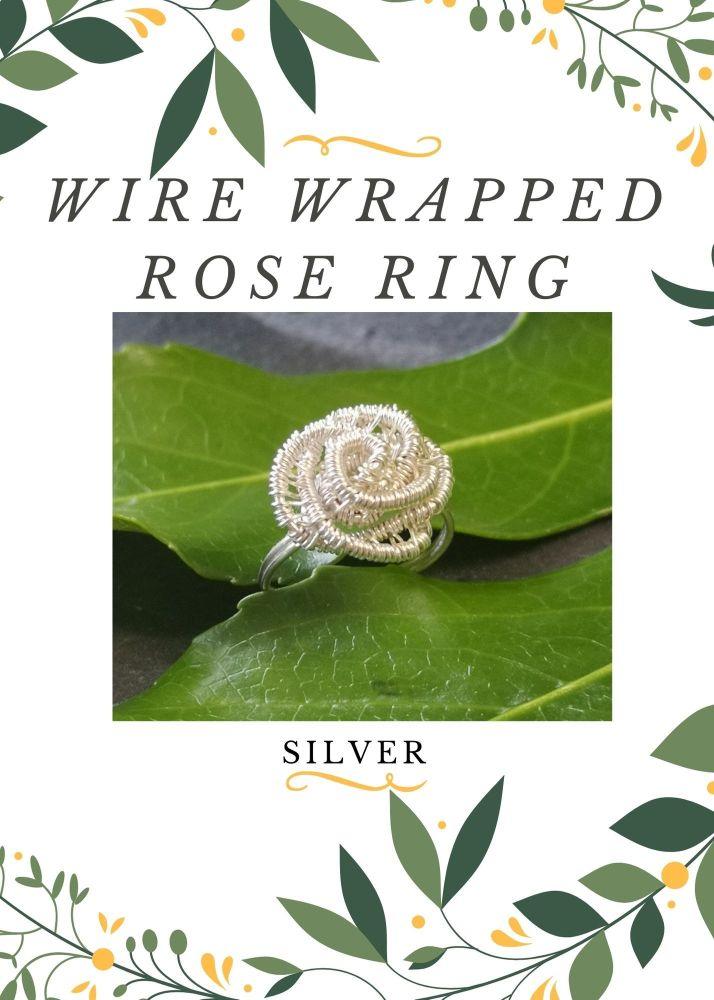 Wire Wrapped Rose Ring Kit - Silver