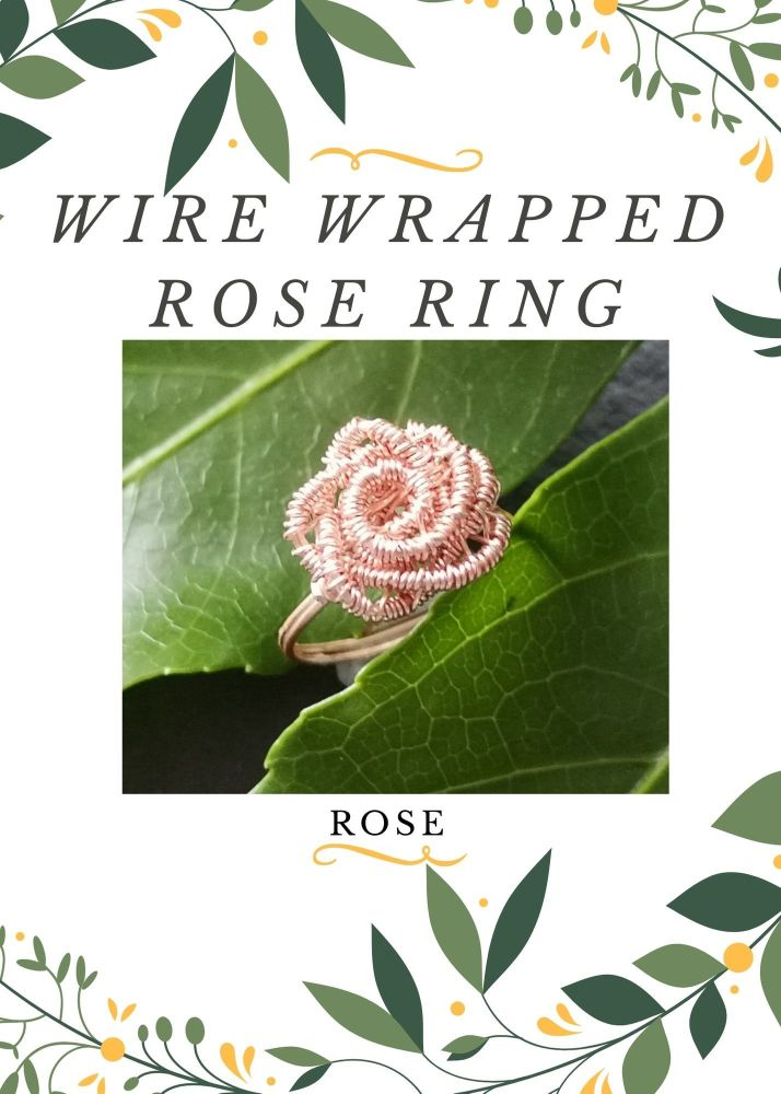 Wire Wrapped Rose Ring Kit - Rose gold MAKES 2