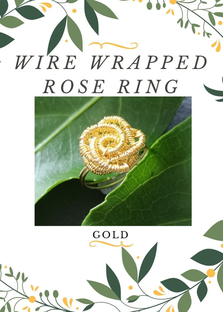 Wire Wrapped Rose Ring Kit - Gold MAKES 2