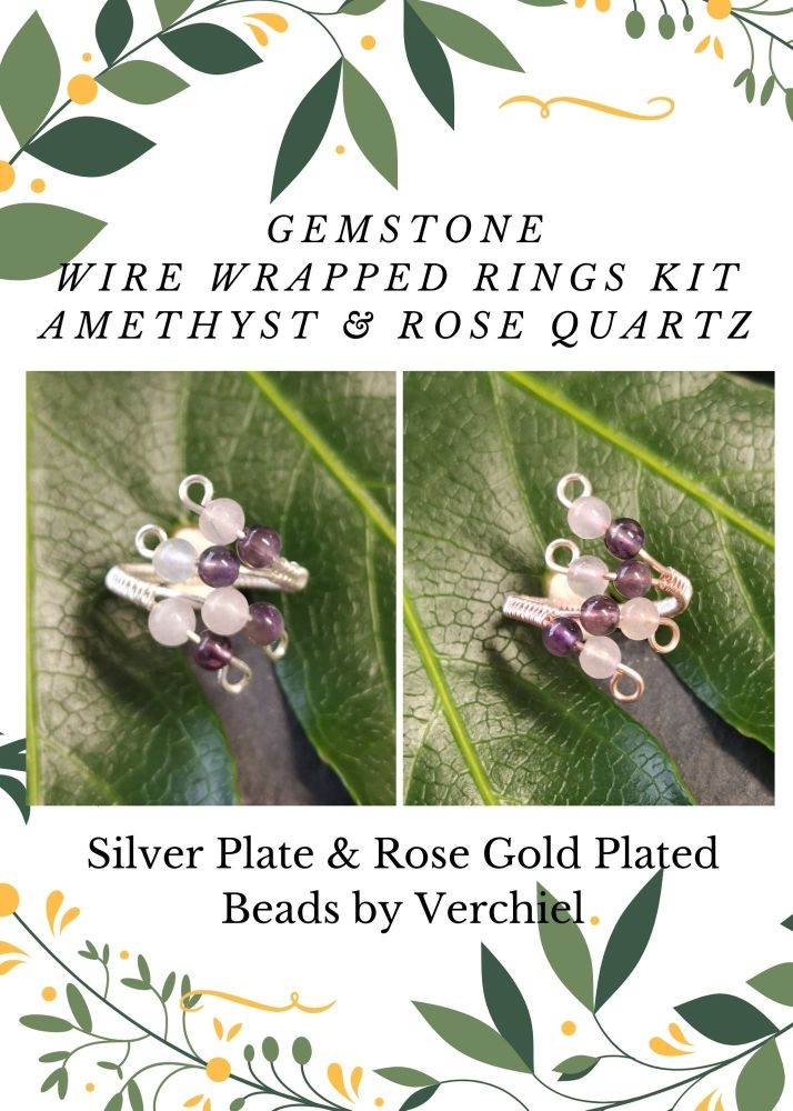 Wire Wrapped Amethyst & Rose Quartz Gemstone ring Kit - MAKES 2