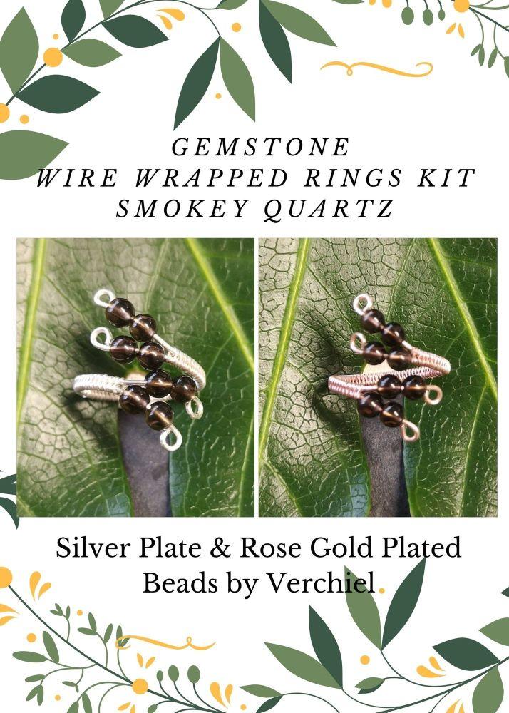 Wire Wrapped Smokey Quartz Gemstone ring Kit - MAKES 2