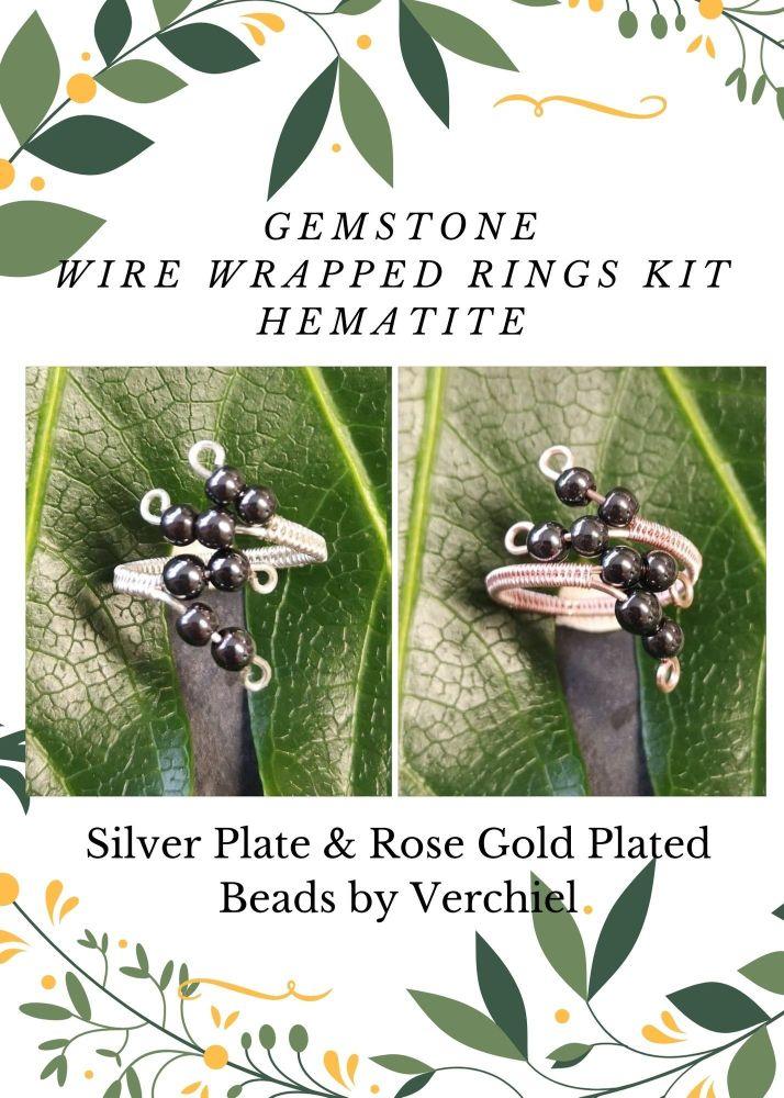 Wire Wrapped Hematite Gemstone ring Kit - MAKES 2