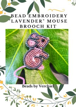 Bead embroidery Lavender Mouse kit