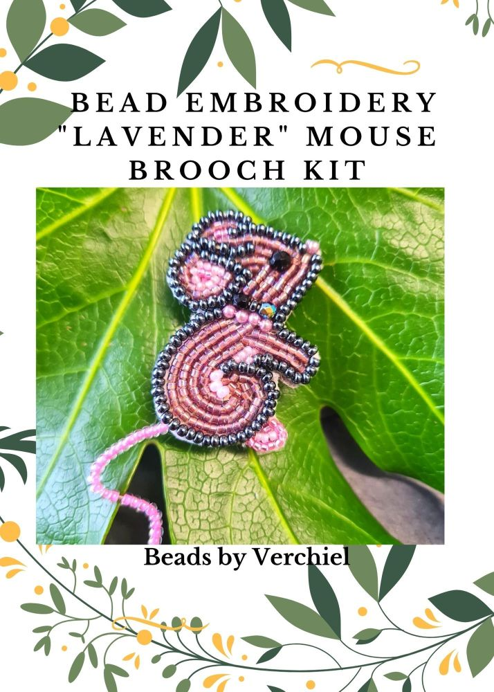 <!001->Bead embroidery Lavender Mouse kit