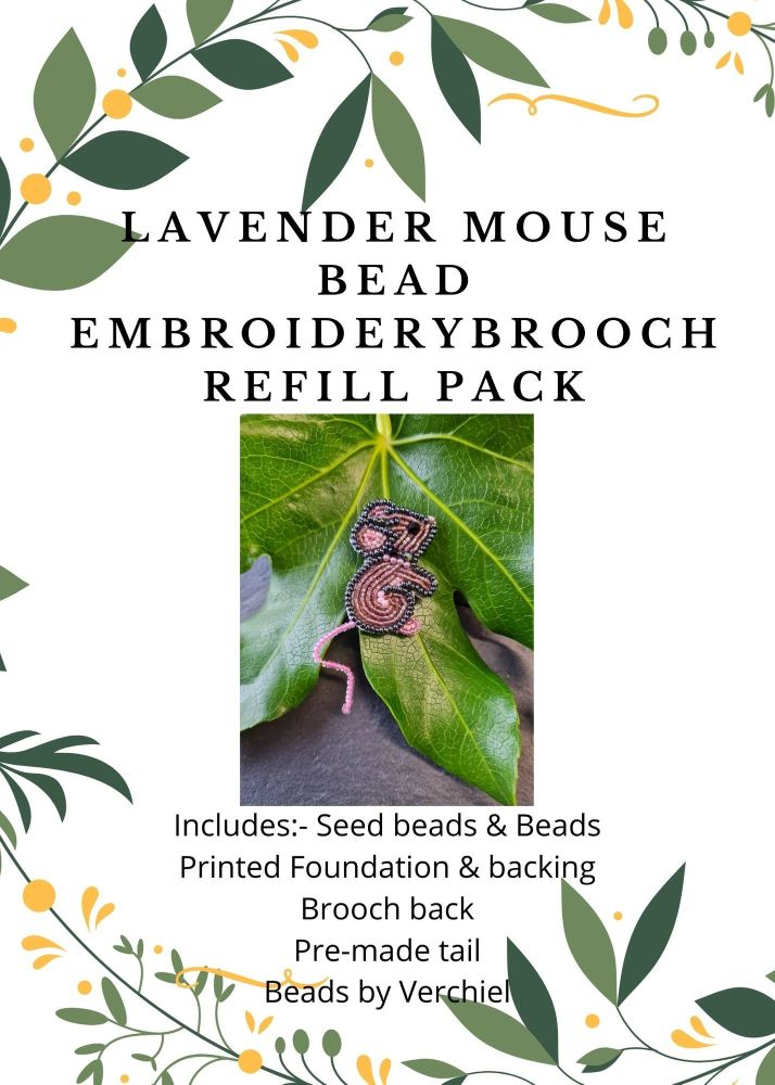 <!001->Bead embroidery Lavender Mouse REFILL PACK