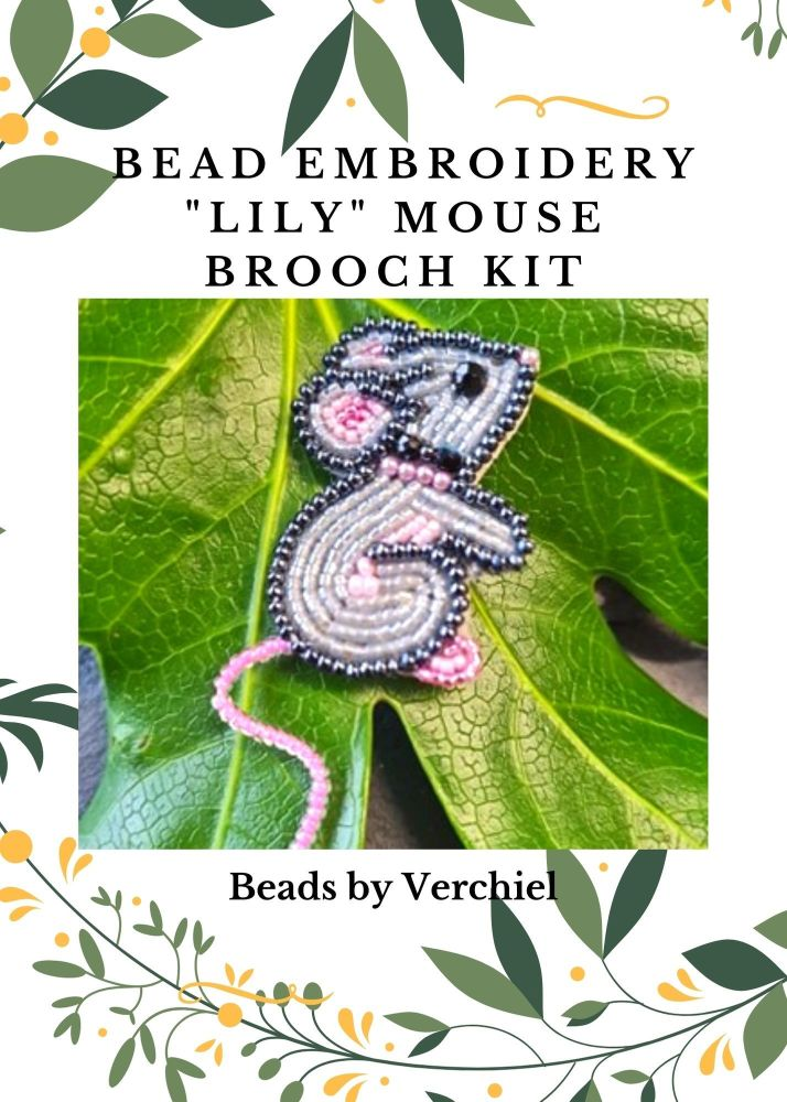 <!001->Bead embroidery Lily Mouse kit