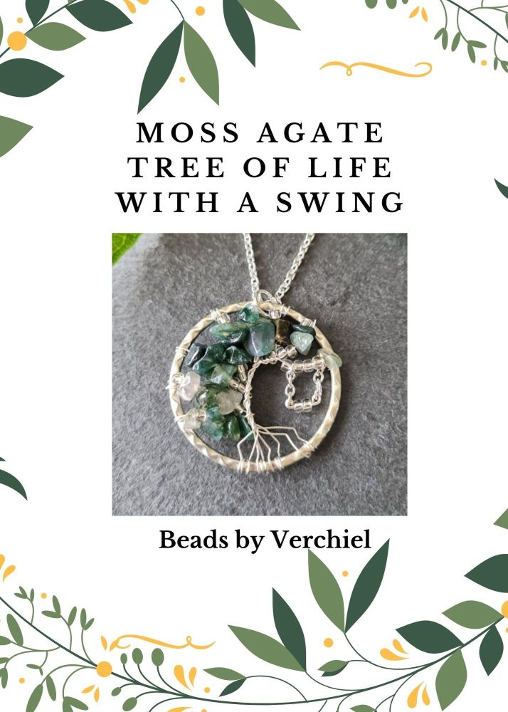 <!001-> Moss Agate Tree of Life with Swing Jewellery Making Kit