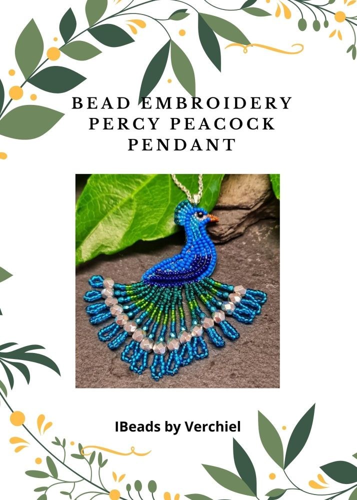 <!001->Bead embroidery Percy Peacock Pendant  kit