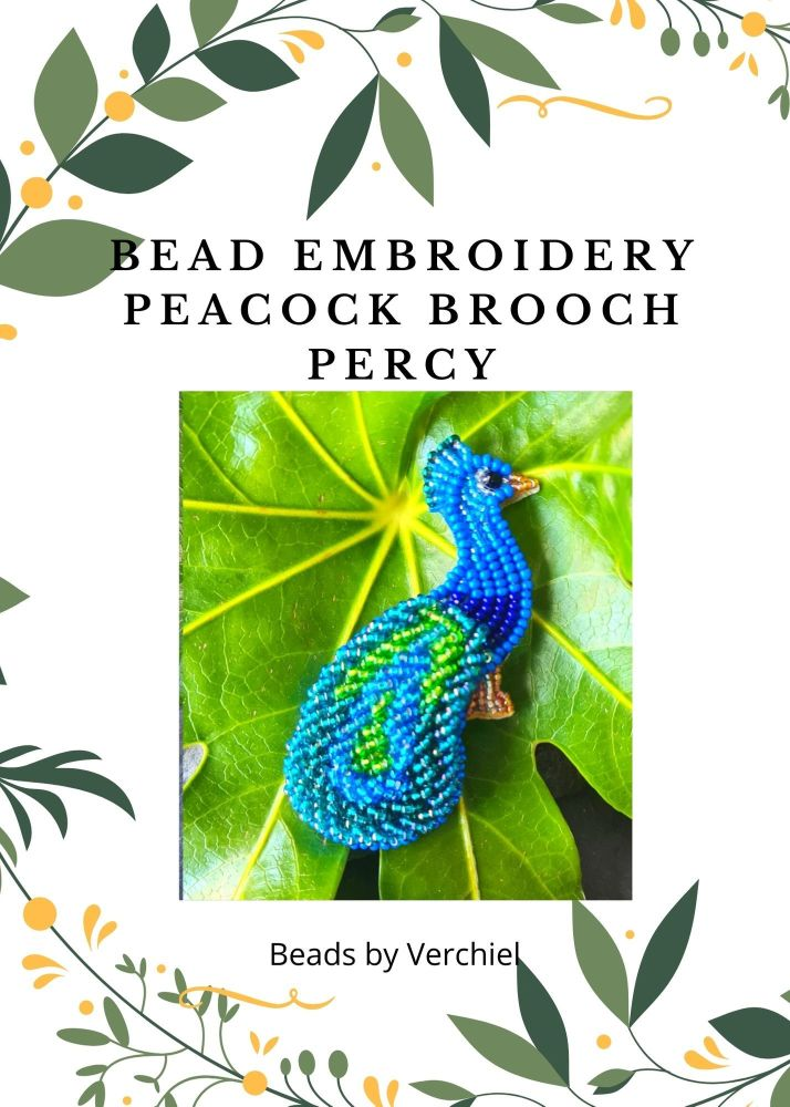 <!001->Bead embroidery Percy Peacock Brooch  kit