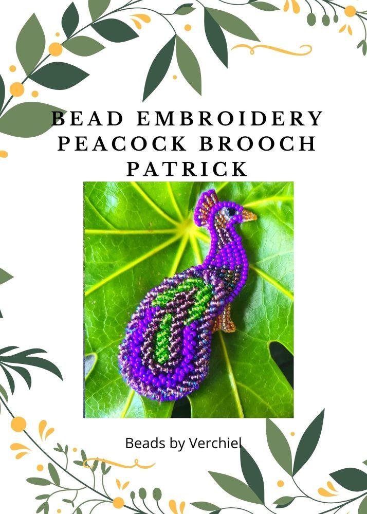 <!001->Bead embroidery Patrick Peacock Brooch  kit