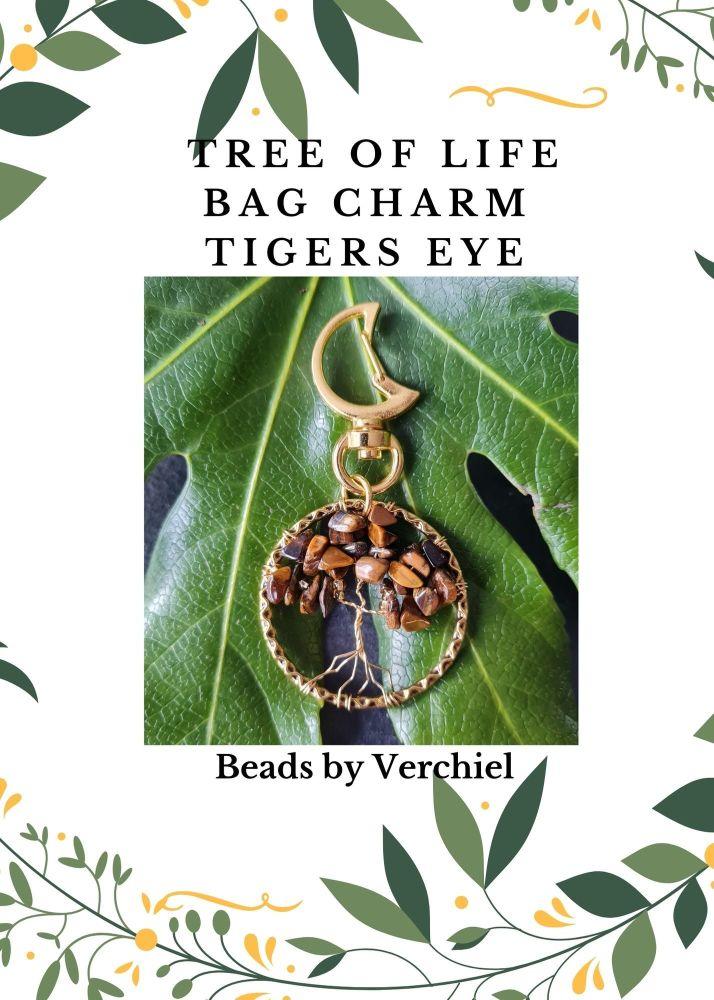<!001-> Tigers Eye Tree of Life Bag Charm kit