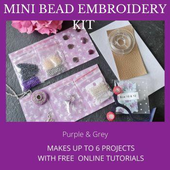 Mini Bead Embroidery Kit - Purple & Grey