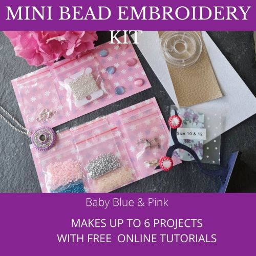 <!001-> Mini Bead Embroidery Kit - Baby Blue & Pink