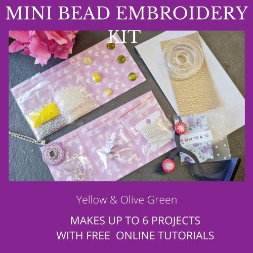 <!001-> Mini Bead Embroidery Kit - Yellow & Olive Green