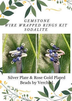 Wire Wrapped Sodalite Gemstone ring Kit - MAKES 2 - SPECIAL OFFER