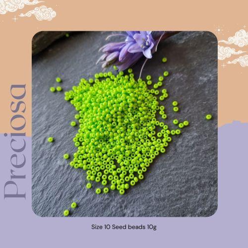 Preciosa Czech size 10 seed beads  - Terra Intensive Lime